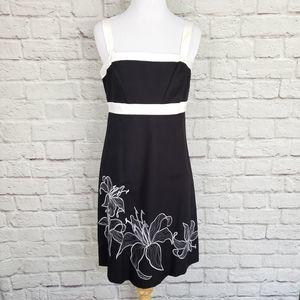 Ann Taylor Black & White Floral Empire Waist Dress